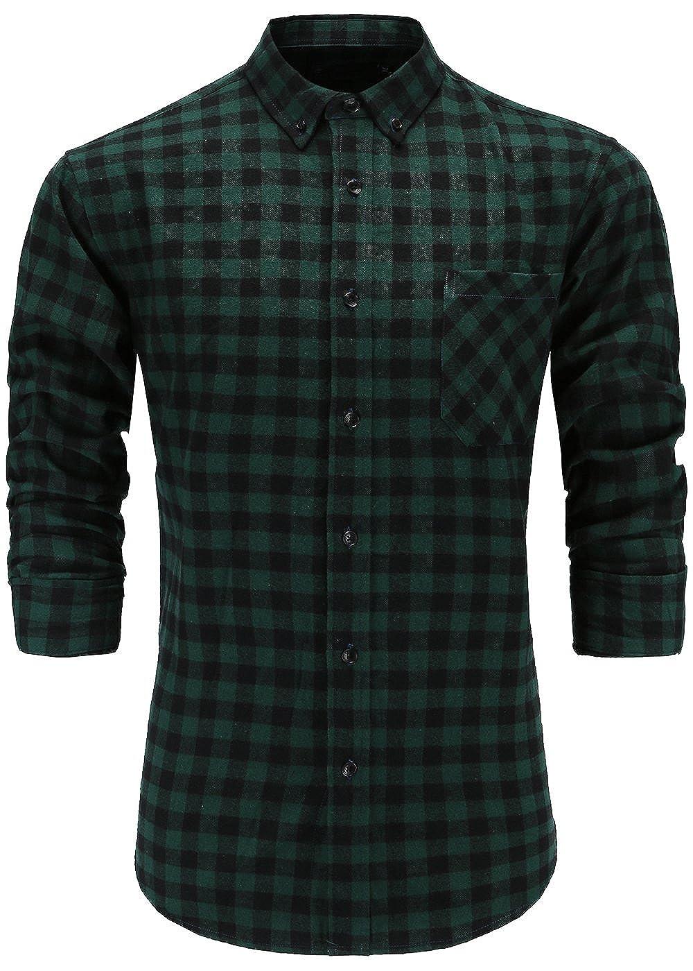GoldCut Mens 100/% Flannel Cotton Regular Fit Long Sleeve Button Down Plaid Dress Shirts