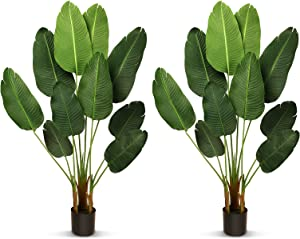 THE BLOOM TIMES 2 Pack 5.2 FT Silk Bird of Paradise Artificial Plants Home Decor Indoor Outdoor, Fake Tropical Palm Tree Potted Faux Plants Indoor Tall with Pot Office Living Room House Decoration