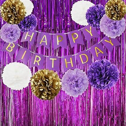 Amazon Com Happy Birthday Bunting Banner Purple Birthday Party