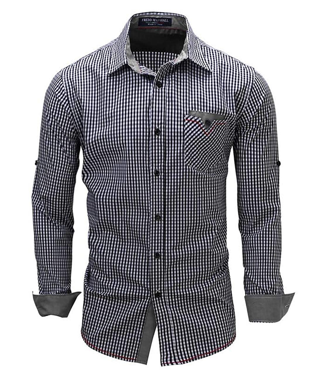 Nanquan Men Long Sleeve Button Down Denim Plus Size Plaid Shirt
