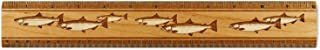 """product image for 12"""" Solid Wood Artisan Ruler - Engraved Salmon Fish Design - Measures Inches & Centimeters - Made in USA"""