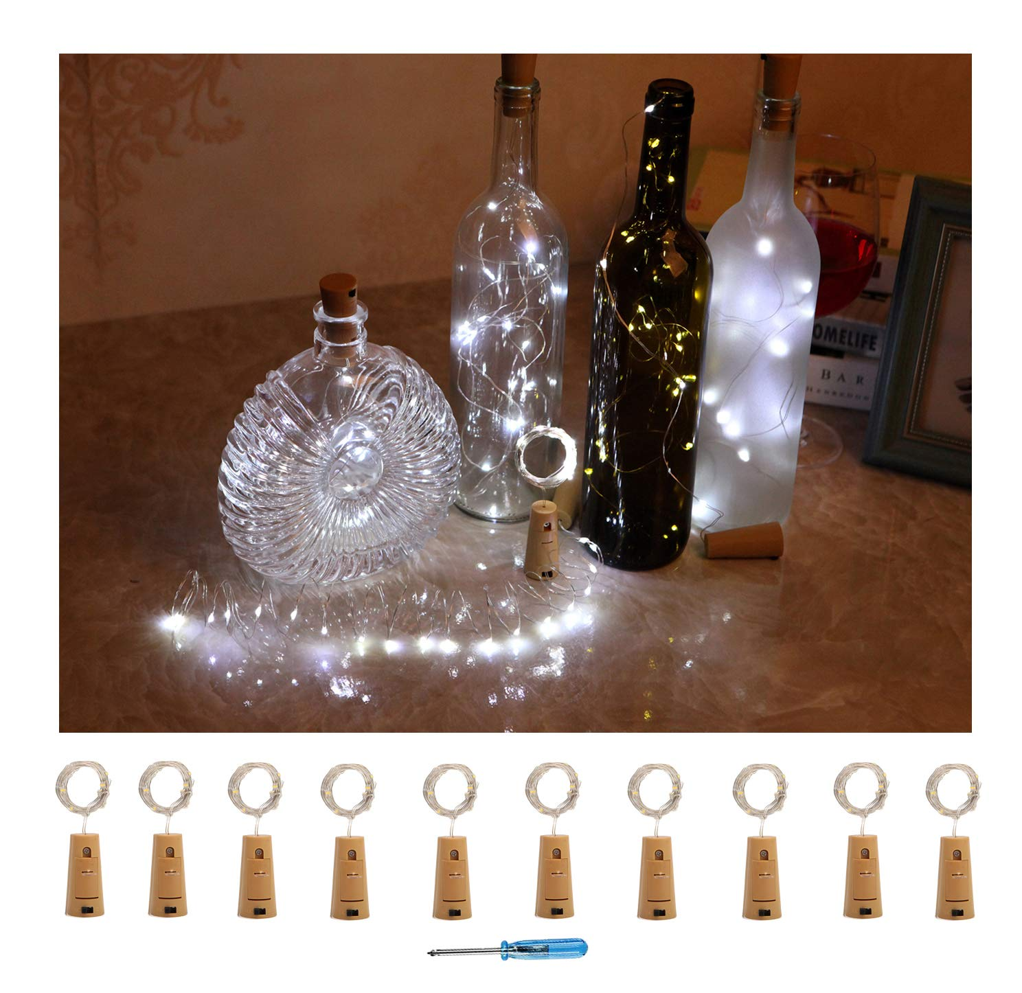 10 Pack Battery Operated Cork Lights-20 Led Copper Wine Bottles Fairy String lights for Garden, Patio Pathway Décor, Outdoor, DIY, Party, Wedding, Christmas, Halloween, Holiday Decorations (10, Colorful-Steady) Patio Pathway Décor Sunlane