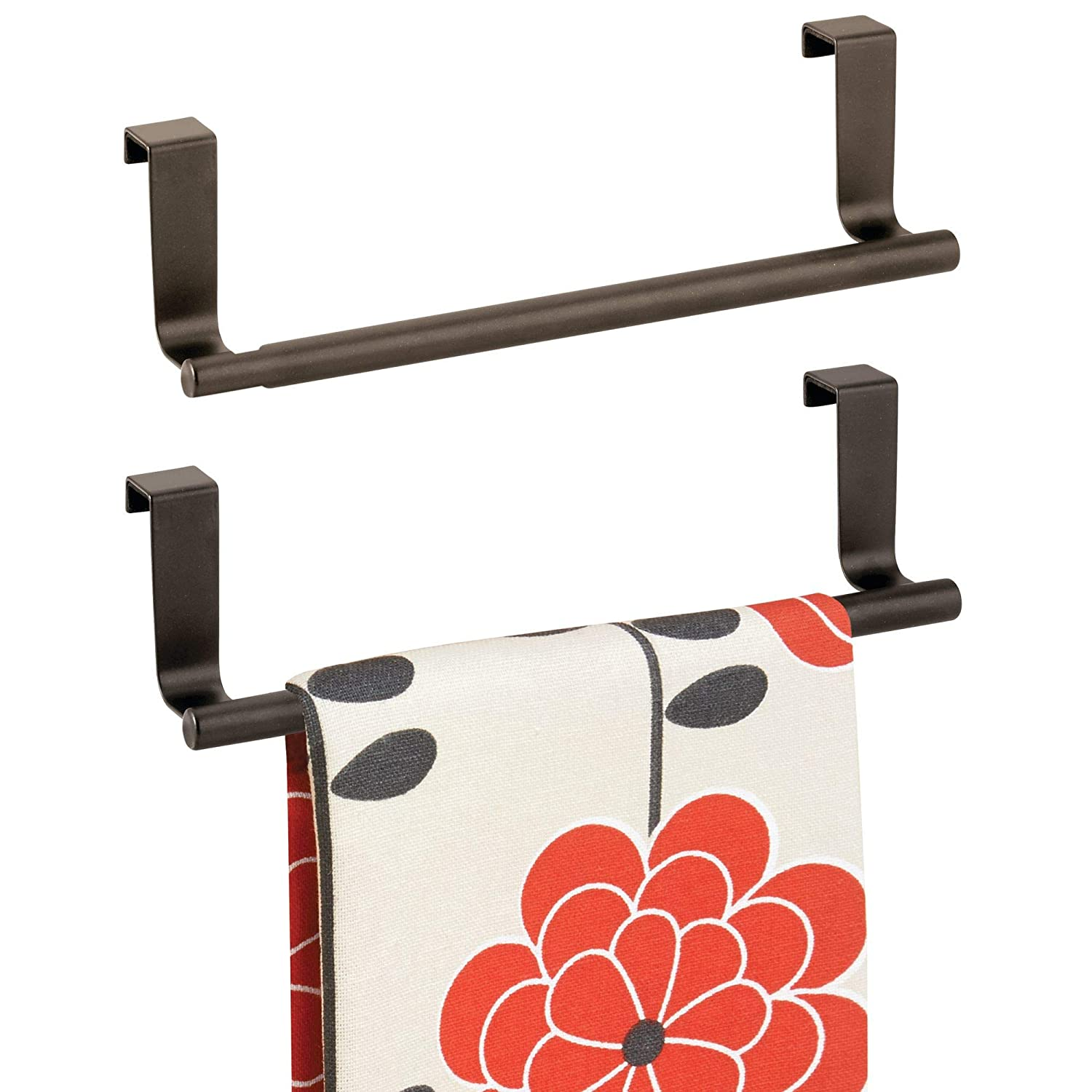 "mDesign Decorative Metal Kitchen Over Cabinet Towel Bar - Hang on Inside or Outside of Doors, Storage and Display Rack for Hand, Dish, and Tea Towels - 9.8"" Wide, 2 Pack - Bronze"