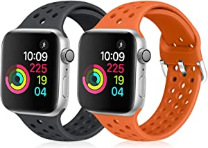 XFYELE Compatible with Apple Watch Band 42mm 44mm, Soft Silicone Replacement Strap Compatible for iWatch Series 6, 5, 4, 3, 2, 1 for Women and Men (Dark Grey & Orange, 42mm/44mm)