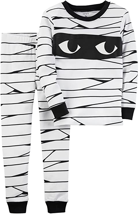 Carter's Boys' 2T-12 2-Piece Glow-in-The-Dark Snug Fit Cotton Halloween PJs 3T White