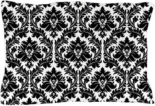 """2 Pillowcases Silky Satin Cases DAMASK White Black 20/""""x30/"""" New Standard Set"""