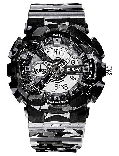 DIRAY Reloj Pulsera Electrónico Deportivo Dual Alarma Noctiluciente Cronómetro Wrist Watch de Hombre 50M Impermeable - Camuflaje Gris: Amazon.es: Relojes