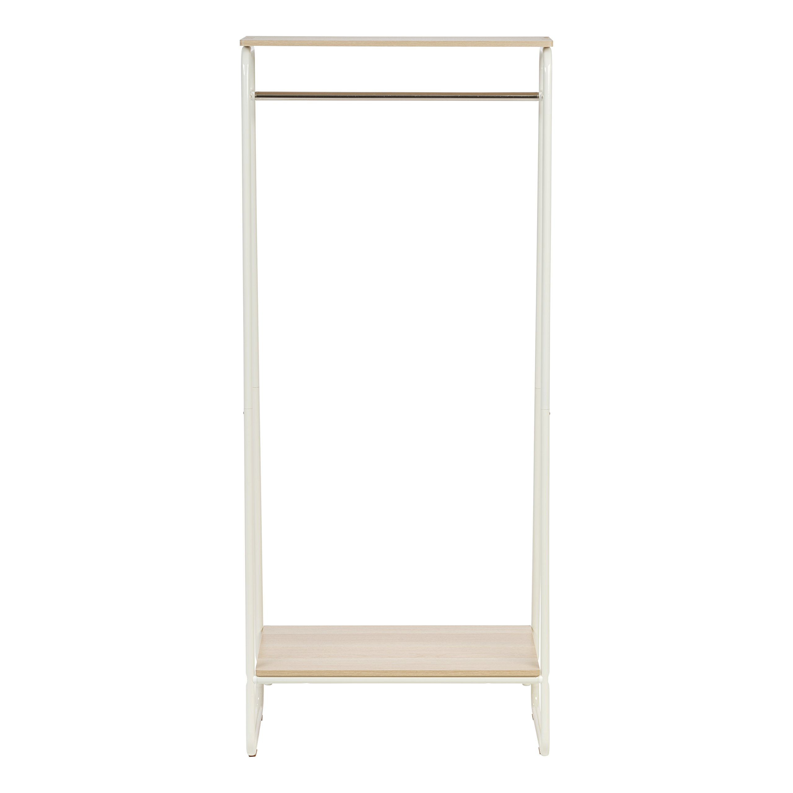 IRIS Metal Garment Rack with 2 Wood Shelves, White and Light Brown by IRIS USA, Inc. (Image #3)