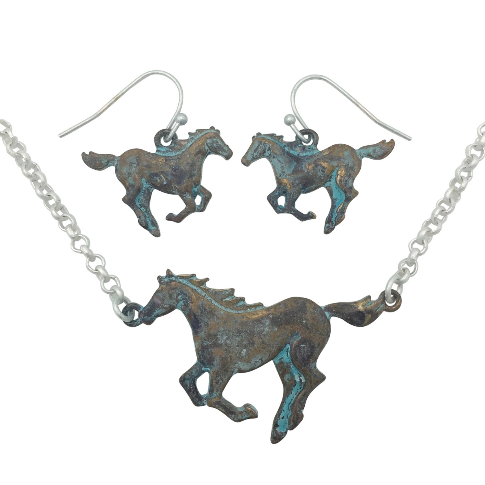 Running Horse Western Theme Necklace & Earring Set (Patina & Matte Silver Tone)