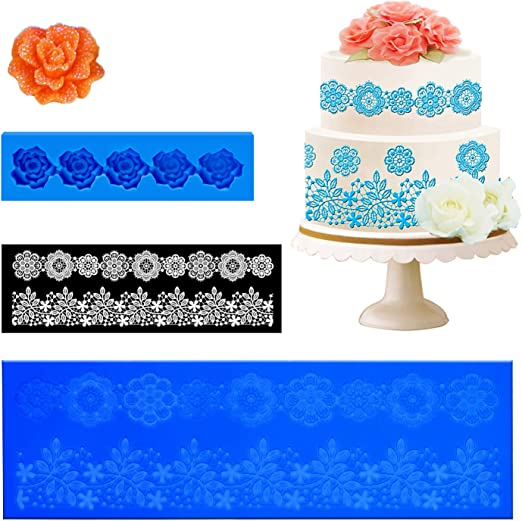 Silicone Flower Lace Ornament Mold Candy Jello 3D Cake Mold Cookie Form Decor J