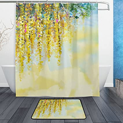 Amazon ALAZA Watercolor Blurred Art Spring Yellow Flowers