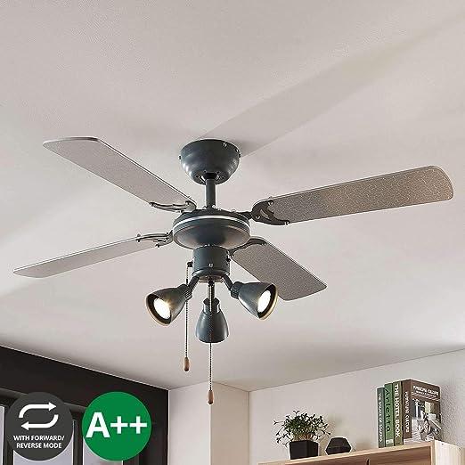 Ventilador de techo con lámpara Anneke en Gris hecho de ...