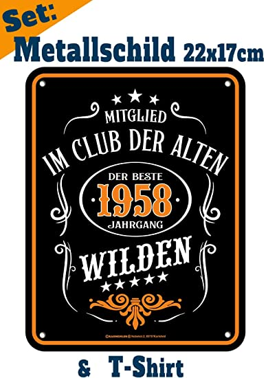 Möbel & Wohnaccessoires Geburtstag 1958 Jahrgang Opa Geschenk Set Legende 1958 geboren Metall Deko Sprüche Schild Wohnaccessoires & Deko Veri Wandschild/T-Shirt zum 61