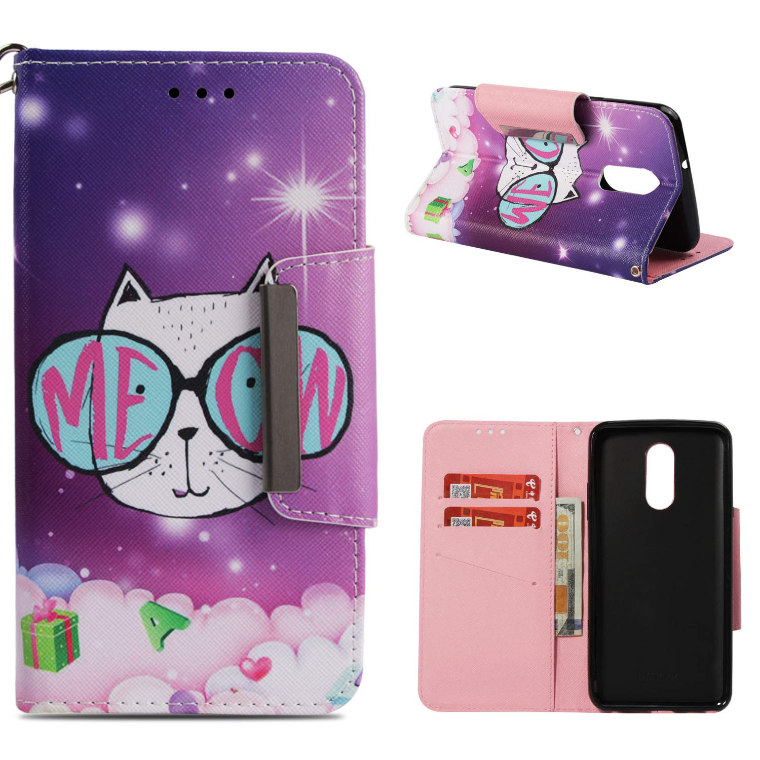 Leather Wallet Case for LG Q Stylus/LG Stylo 4,Shinyzone Cute Cartoon Animal Cat Painted Pattern Flip Stand Case,Wristlet & Metal Magnetic Closure Protective Cover