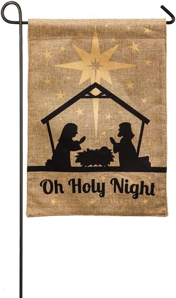 Evergreen Burlap Oh Holy Night Garden Flag, 12.5 x 18 inches Religious Inspired Nativity Flags for The Holidays Christmas