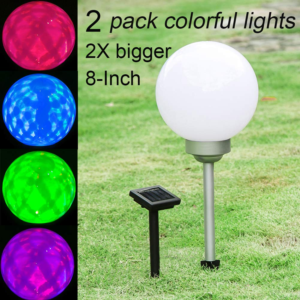 Maggift 8-Inch Multicolor Solar Garden Ball Lights Solar Lights Color Changing Globe Lights for Outdoor, Yard, Patio, Path, Landscape, Home, Automatically Rotate (2 Pack)