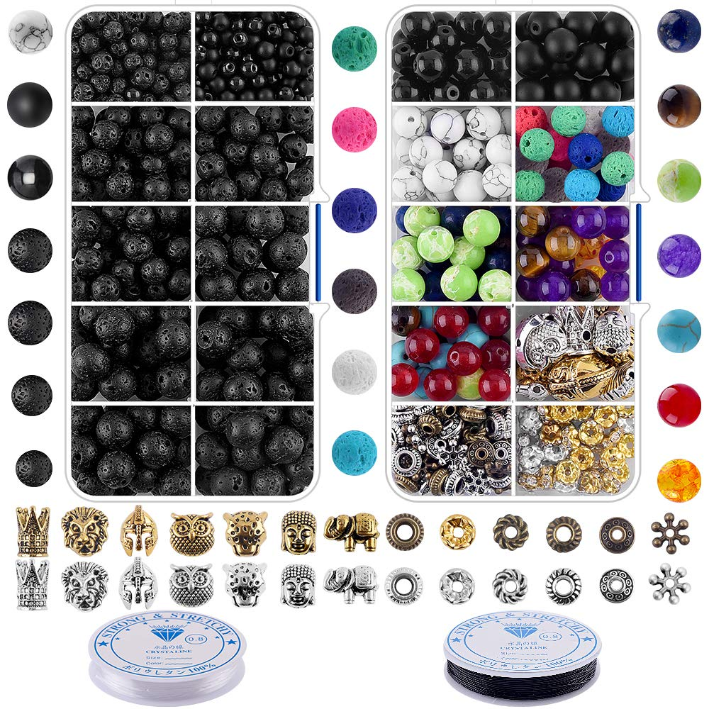 Bracelet Making Kit Beads Bulk - 800Pcs Color Volcanic Gemstone Lava Rock Beads Bulk Chakra Beads Spacer Beads with Crystal String for Diffuser Bracelets DIY Jewelry Making Supplies (4mm 6mm 8mm) by MONOZO