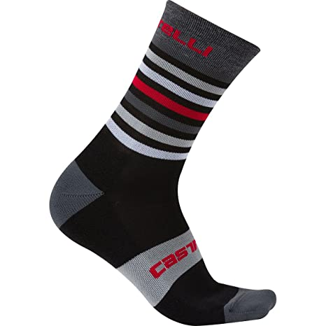 Castelli Calcetines Gregge 15 Sock – Bicicleta Invierno Calcetines – Calcetines térmicos, Black - Red
