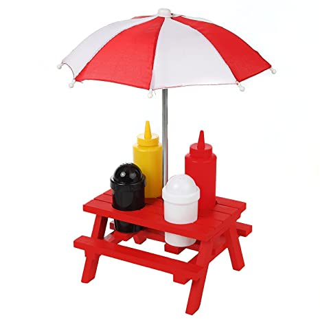 Amazoncom Miniature Picnic Table Backyard Condiment Holder Set - Condiment holder for table