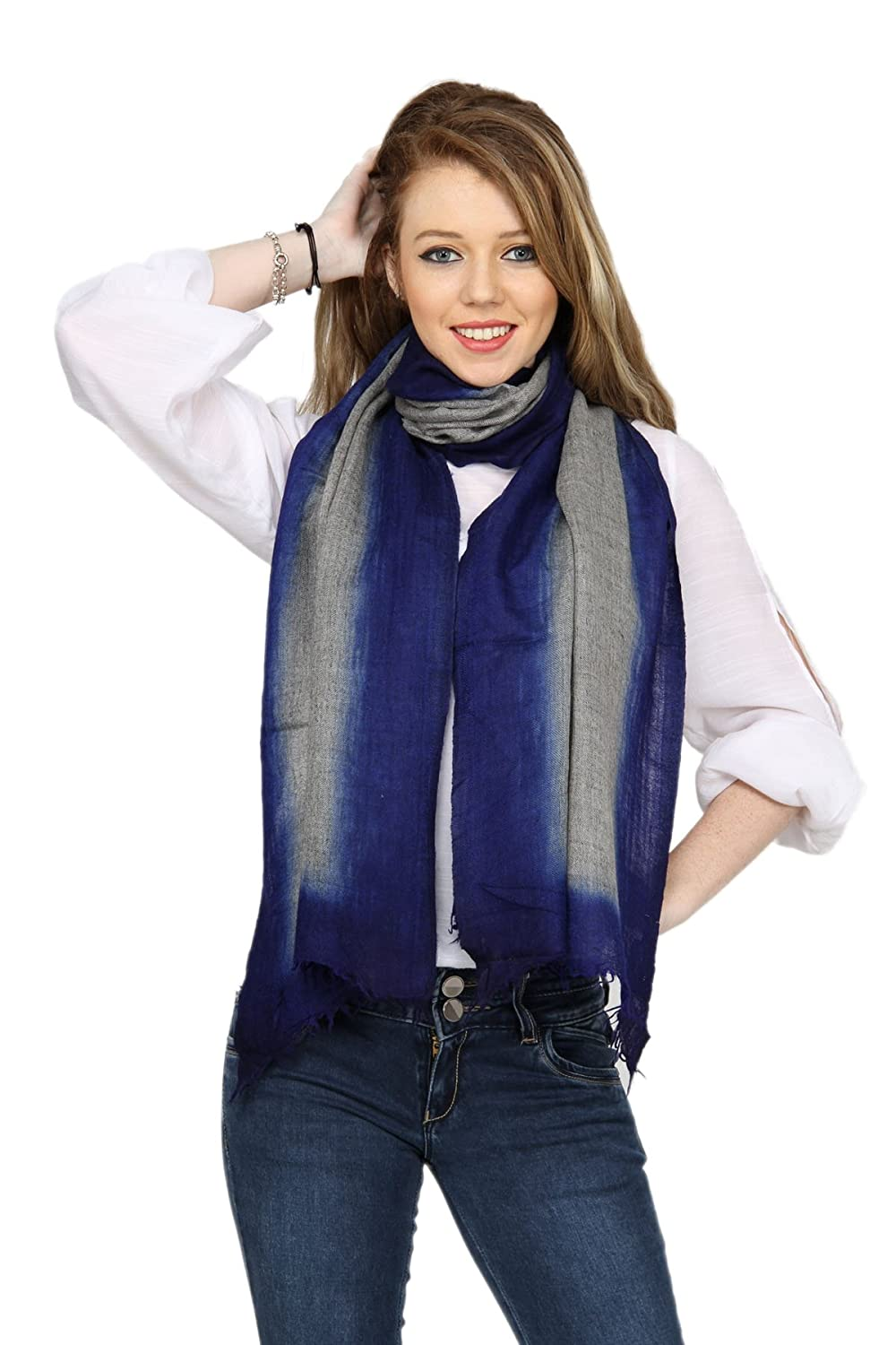 The Scarf Hut Women's Accessories Grey Dyed Fine Wool Scarf.