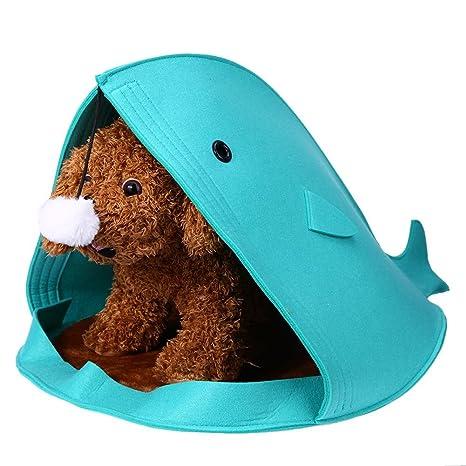 Macrorun - Cama de Perro con Forma de tiburón cálida y Suave para Mascotas, Saco
