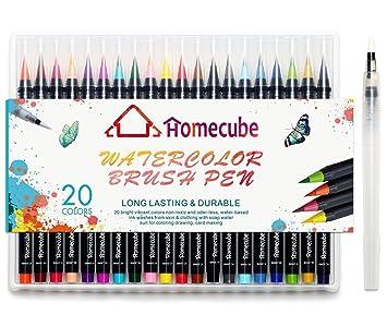 Amazon.com: Watercolor Brush Pen, Homecube 20 PCS Different Color ...