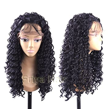 Amazon.com   Friya Loose Curly Lace Front Wig Long Natural Black Color  Curly Synthetic Hair Half Wigs Heat Resistant Fiber Wigs with Baby Hair For  Women 24 ... d2f410a48