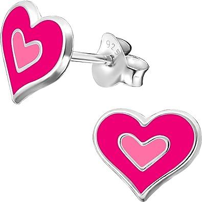 JAYARE Boucles doreilles Enfants coeurs amour argent sterling 925 Email rose clou doreilles fille