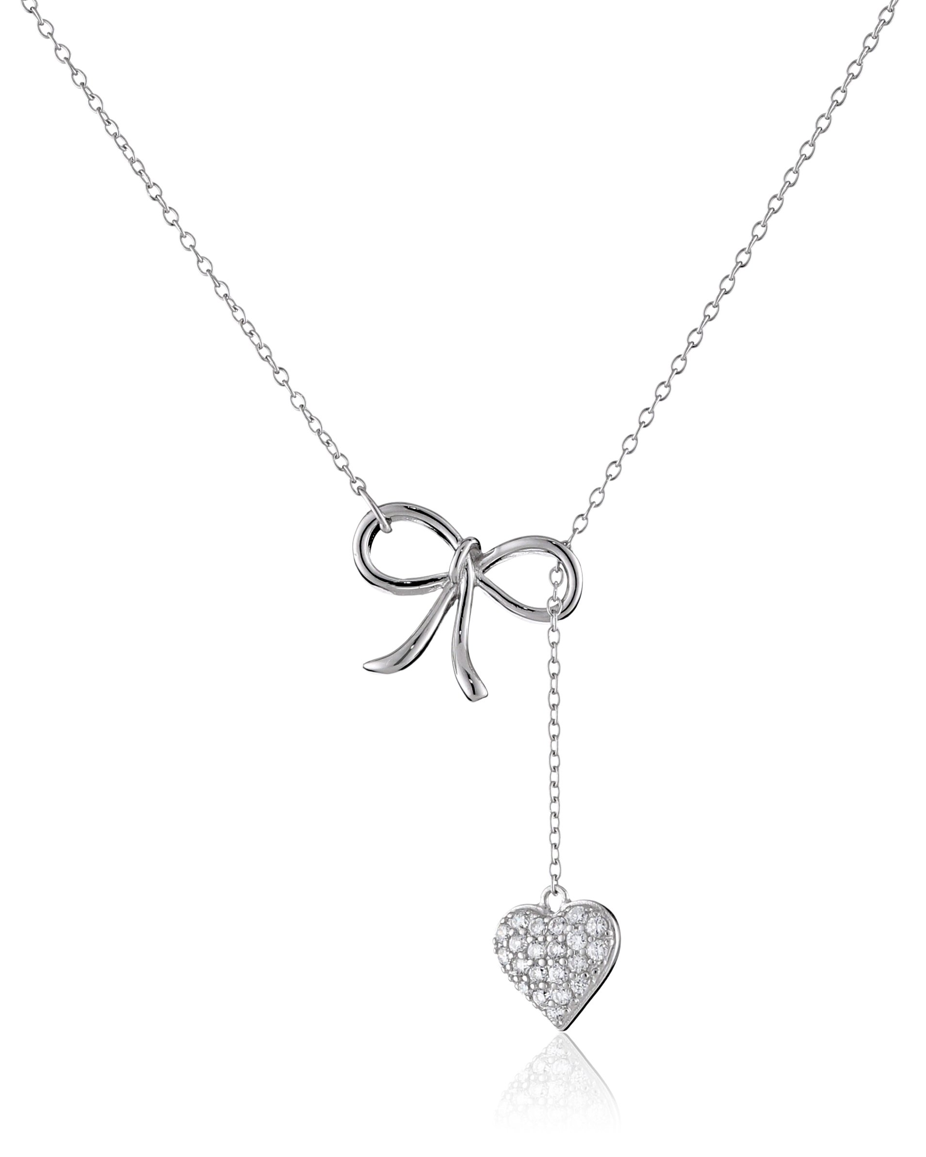 Sterling Silver Cubic Zirconia Bow and Pave Heart Lariat Necklace, 16.5'' + 2'' Extender by Amazon Collection