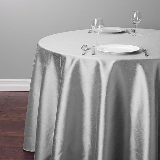 LinenTablecloth Round Shantung Silk Tablecloth 118 White 118 118RD-270101