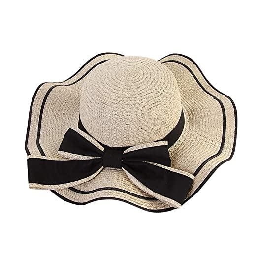 78dd253e410 Women Beach Straw Bow Sun Hat Jazz Sunshade Panama Foldable Hat Gangster Cap  (one Size