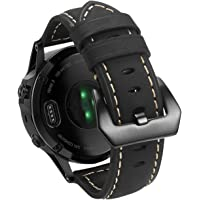 Garmin Fenix 5 Watch Band, Shangpule 22mm Genuine Leather Strap Replacement Smart Watch Wrist Band Bracelet for Garmin Fenix 5 / Forerunner 935 GPS Watch