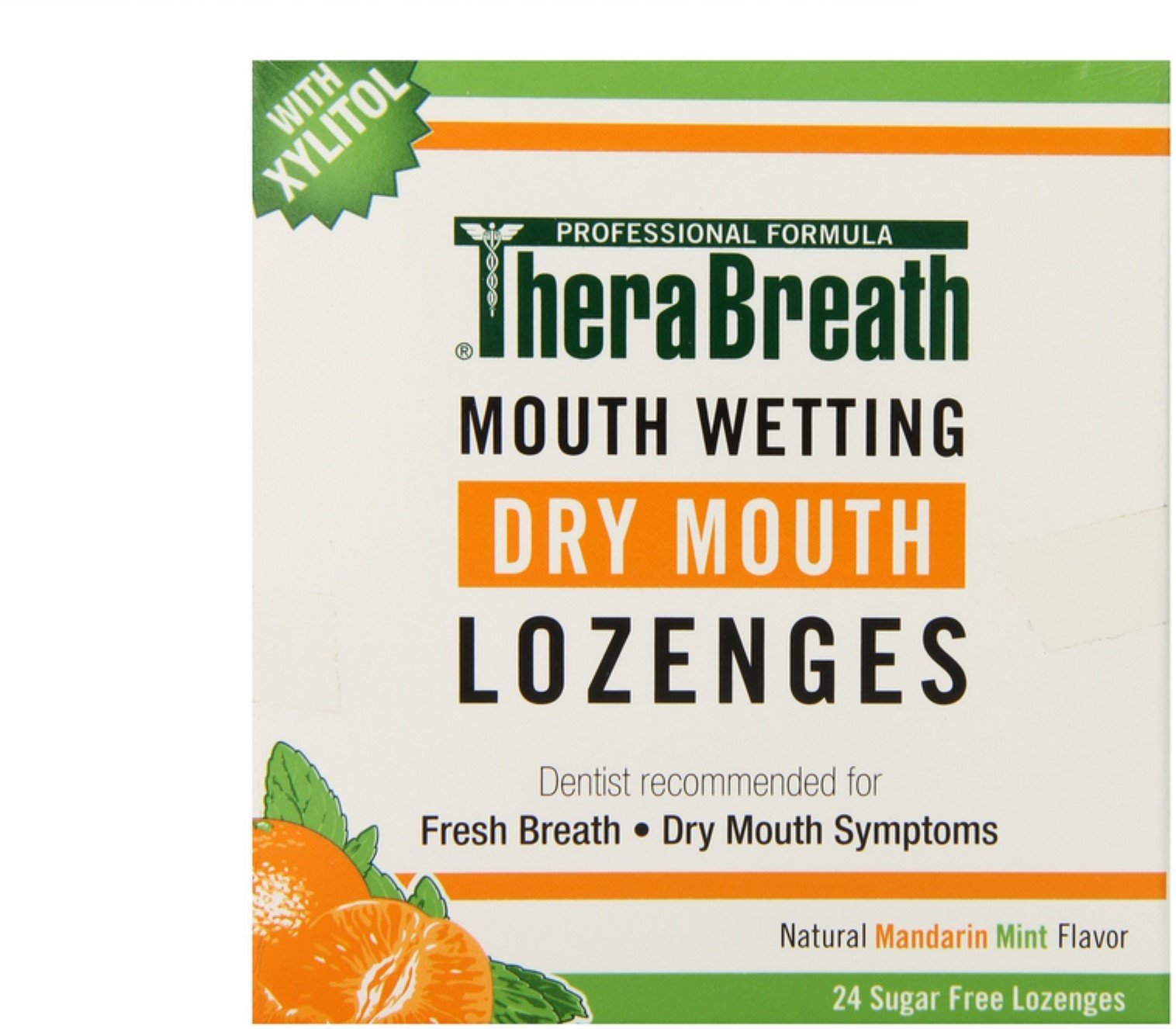 TheraBreath Dry Mouth Lozenges, Sugar Free, Mandarin Mint Flavor, 24 ea (Pack of 6)
