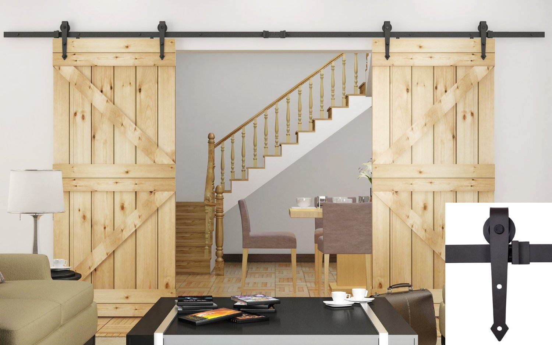 Amazon.com: TMS TSQ08 ORB(2SET)+CONN ORB Modern Style Barn Wood Double  Sliding Door Hardware Closet Set, 12u0027, Dark Coffee: Home Improvement