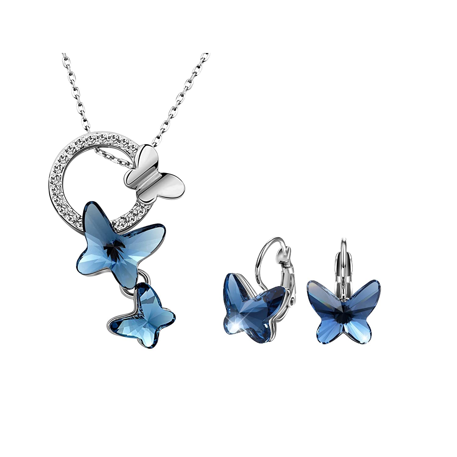 T400 Blue Purple Pink Butterfly Crystal Pendant Necklace and Lever Back Earrings Jewelry Set for Women Girls