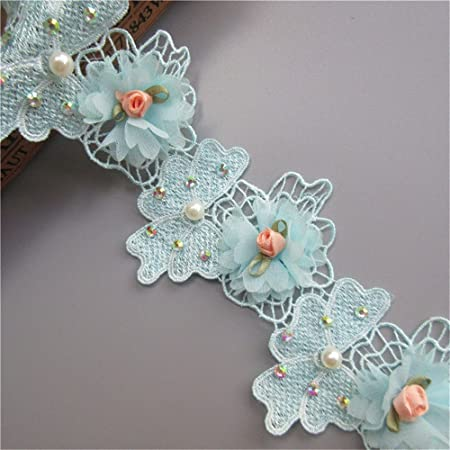 2 Yards Flower Pearl Diamond Lace Edge Trim Ribbon 8 cm Width ...