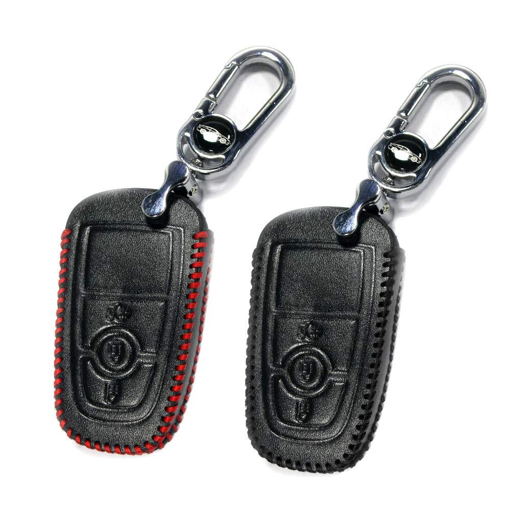 Muchkey Caja de la Llave del Coche de Cuero para Mondeo Focus 3 MK3 ST Tecla Kuga Fiesta Escape Smart 3 Botones Hilo Negro+Hilo Rojo 1 Pieza/2 Piezas