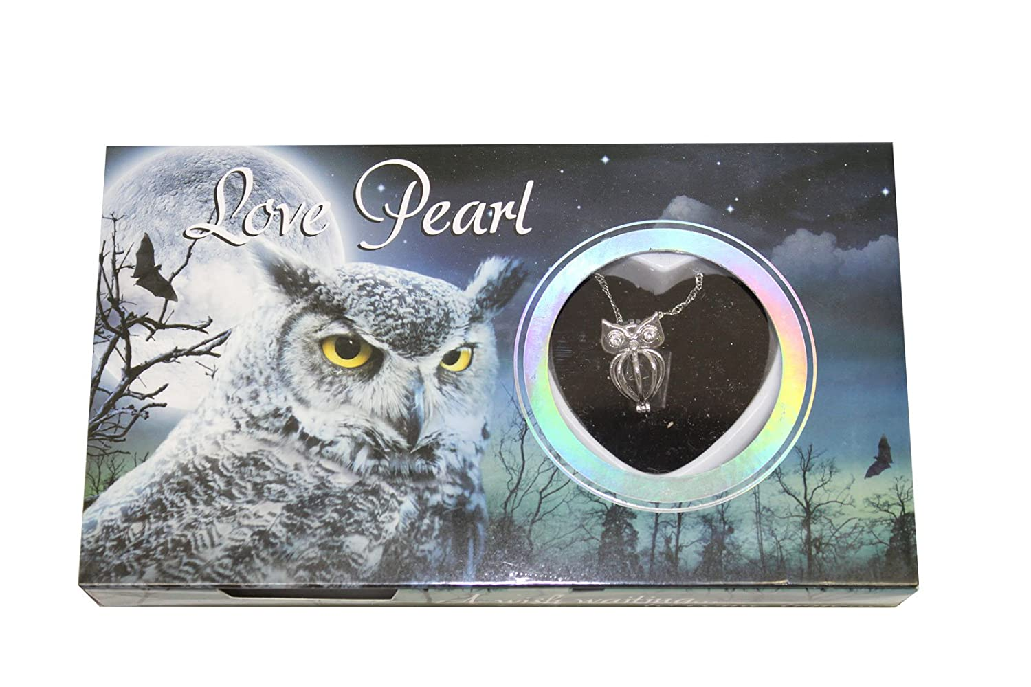 Owl Love Wish Pearl Kit Chain Necklace Kit Pendant Cultured Pearl in Kit Set With Stainless Steel Chain 16' Love Pearl