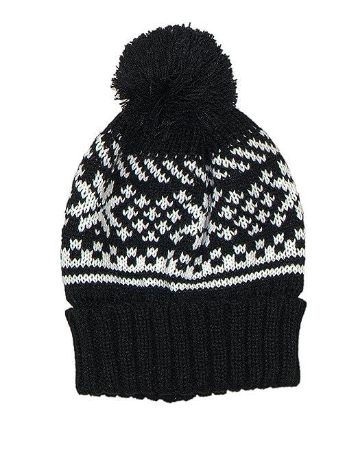 Accessoryo - Unisex-Strick-schwarzer Beanie-Hut mit weißem Fair-Isle ...