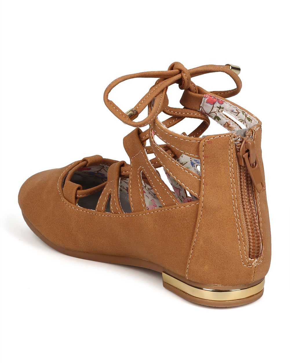 Nubuck Round Toe Lace up Flat (Toddler Girl/Little Girl/Big Girl) FC71 - Beige (Size: Toddler 10) by Little Angel (Image #3)
