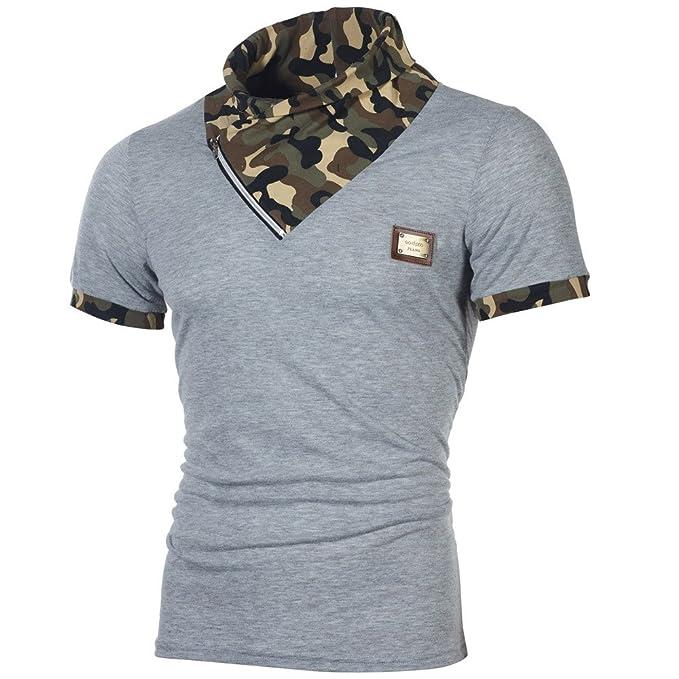 8554333b884a Herren T Shirt Top Sommer Kurzarm Shirt Slim Fit Camouflage Druck T-Shirt  Weste Zhen+ Männer Sport Casual Splice Kurzarmshirt Tee Bluse Sweatshirt  Oberteile ...