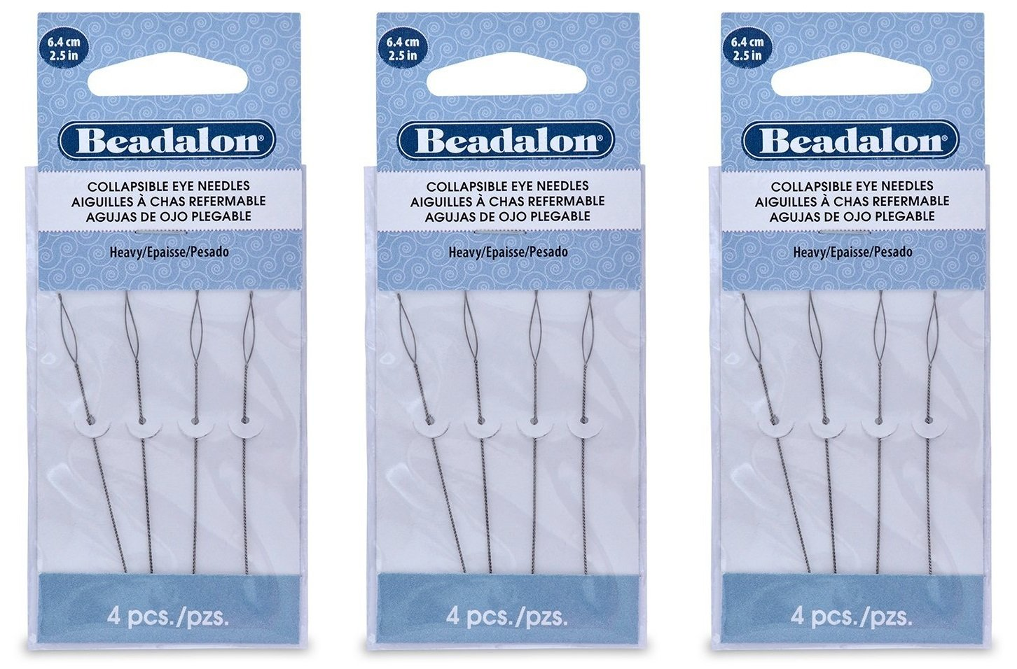 Beadalon Collapsible Eye Needles 2.5-Inch Heavy 4 Pack (3 Pack) Artistic Wire