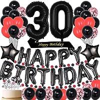 Black 30TH birthday Party Decorations Supplies Black theme Happy Birthday sash and cake topper 30 Birthday Foil Balloons…