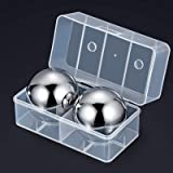 Whiskey Stones, Large Metal Whiskey Stones Balls Reusable Stainless Steel Ice Cubes, Won't Dilute Your Drink, Perfect Whiskey