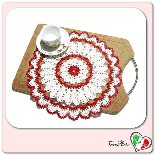 Tapete de ganchillo redondo blanco y rojo para Navidad ...