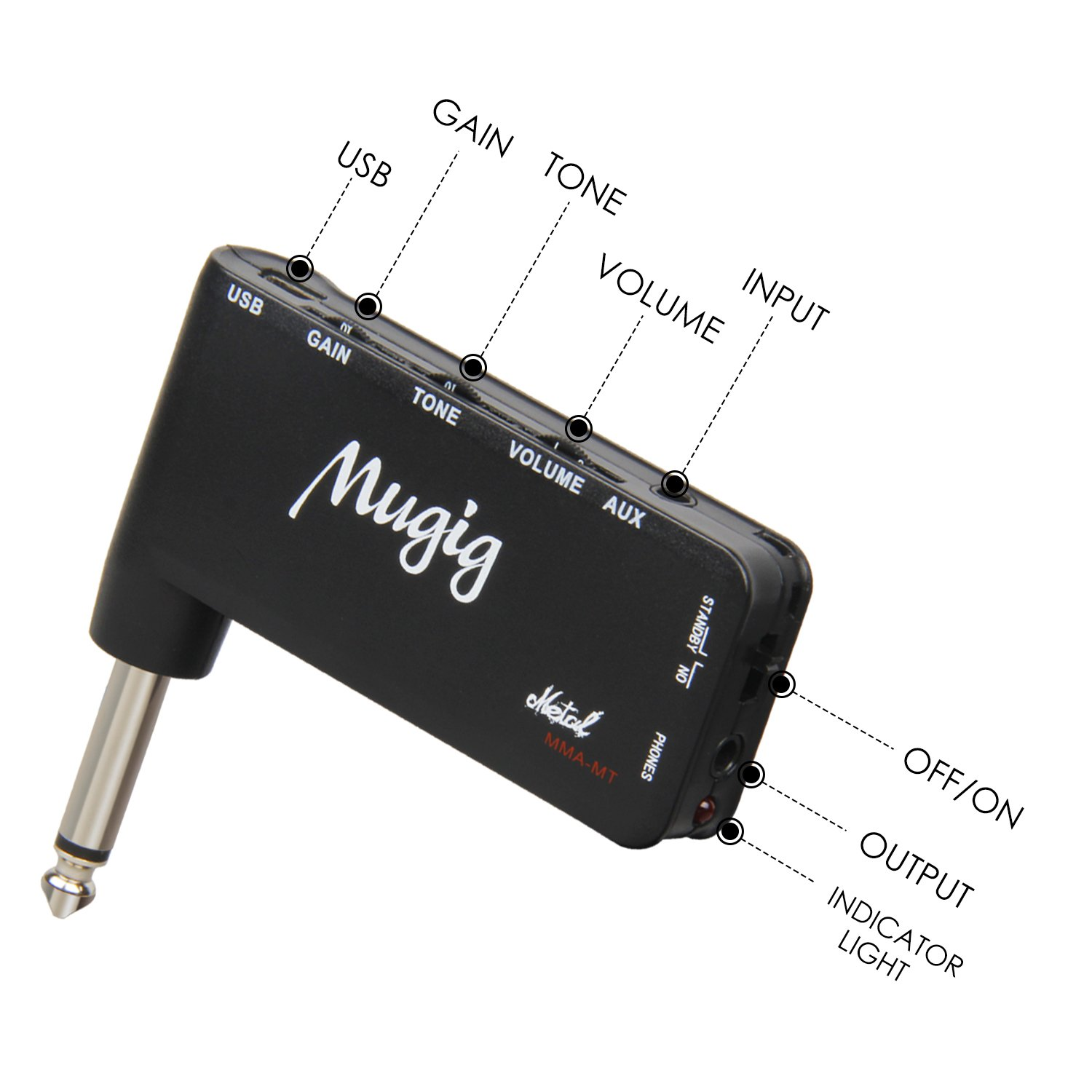 Mugig Mini Guitar Amp for headphones, Metal Effect and Rechargeable guitar Amplifier for Heavy Music, with Mp3 and Earphone Input Jack, Portable