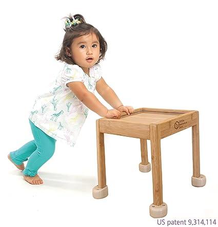 Toddler Activity Table Little Balance Box 2-in-1: No Wheels Spring Feet Girl Boy Baby Walker Push Stand Toys Award Winning Green