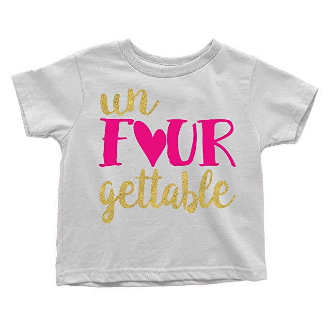 b0a5908f9 Un Four Gettable 4 year old 4th Birthday Sparkly Glitter Toddler T-Shirt:  Amazon.ca: Clothing & Accessories