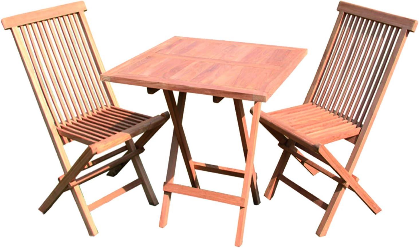 FineHome Juego de 3 Piezas de Madera de Teca para balcón, 1 Mesa Plegable de 60 x 60 cm + 2 sillas Plegables para Interior y Exterior: Amazon.es: Hogar