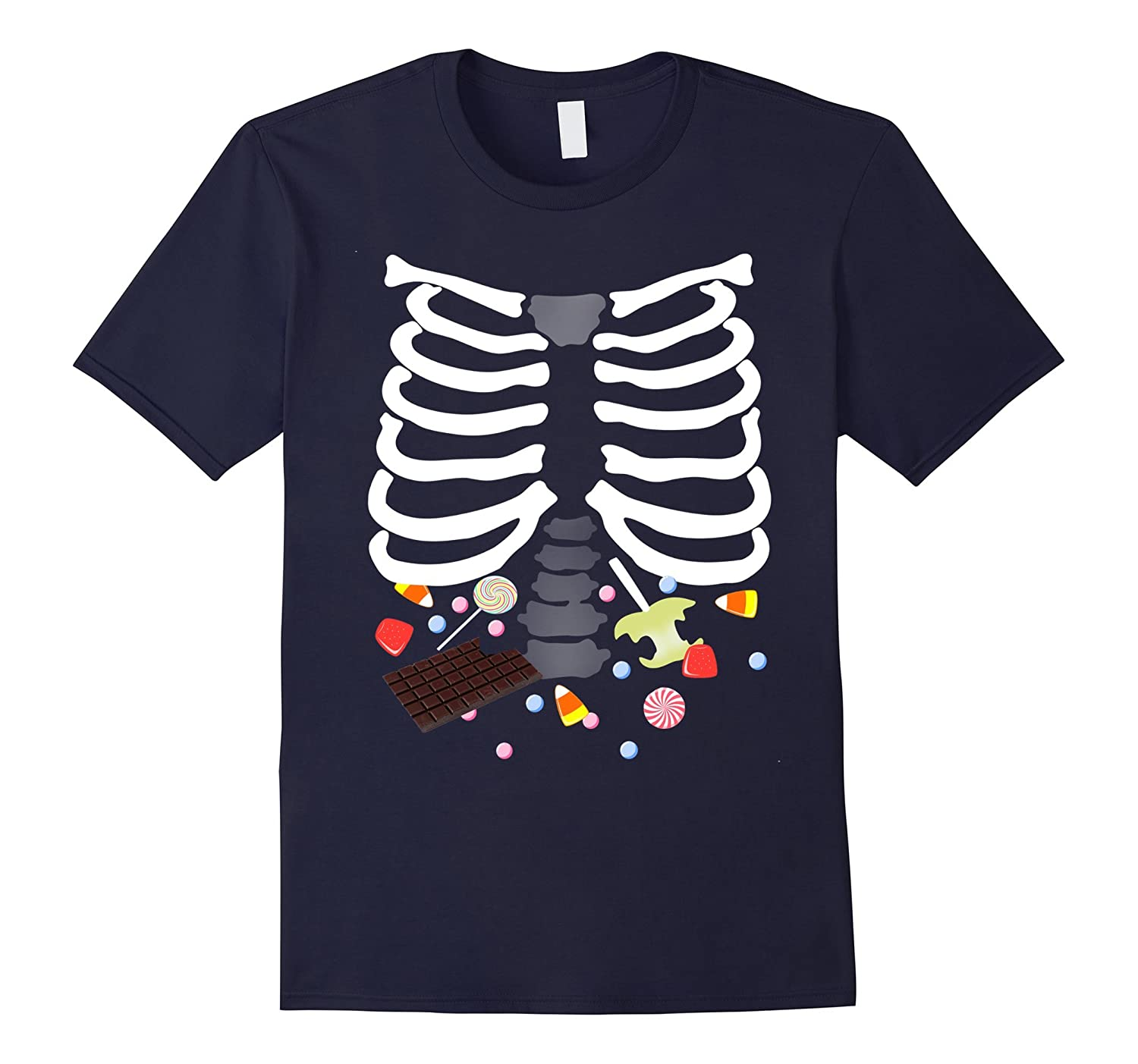 Glow In The Dark Halloween Candy Ribs Graphic Tee-FL